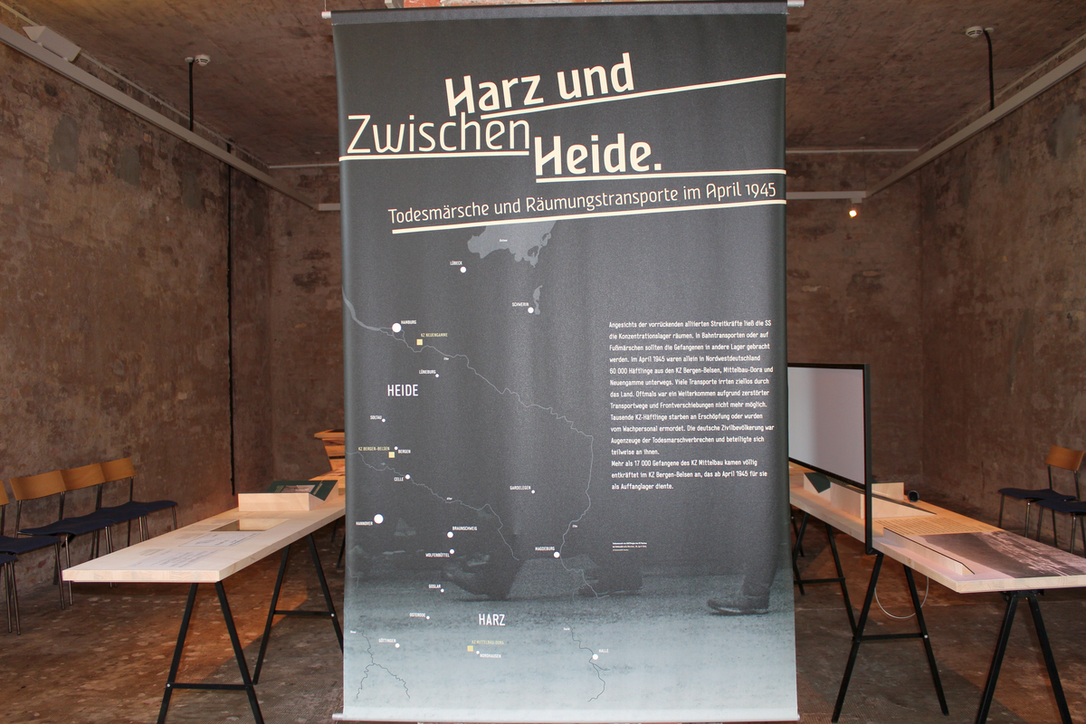 Travelling exhibition Between Harz and Heide. Death marches and evacuations in April 1945. Photo: Nadine Jenke. Concentration Camp Memorial Mittelbau-Dora
